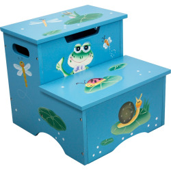 Fantasy Fields Froggy Step Stool with Storage – Teamson, Multi-Colored