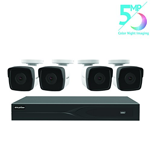 LaView 8 Channel 5MP Business Home Security Cameras System 2TB HDD Surveillance DVR 4 5MP Color Night Vision Bullet Cameras