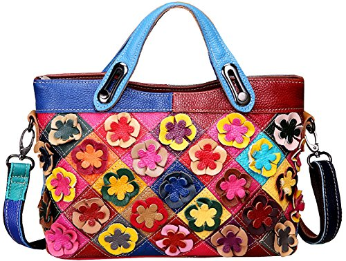 Heshe® Women's Hobo Shoulder Bags Cross Body Tote Handbags Purses with Flower Summer Style (Colorful-2B4037)