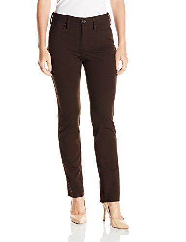 NYDJ Women's Petite Samantha Slim Ponte Pants, Molasses, 10/Petite