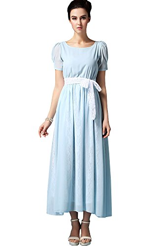 Sheicon Women's Short Sleeve Square Neck Long Maxi Fit and Flare Chiffon Lace Dress Color Light Blue Size S