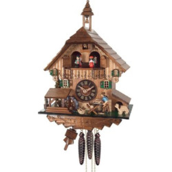 River City Clocks MD434-14 Man Sawing Wood with Waterwheel & Dancers Musical Cottage Cuckoo Clock – MD434-14