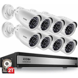 ZOSI 720p 16 Channel HD Security Camera System,16 Channel Hybrid DVR with (8)720p(1280TVL) Weatherproof Indoor/Outdoor Surveillance Bullet Camera CCTV (2TB HDD Included)