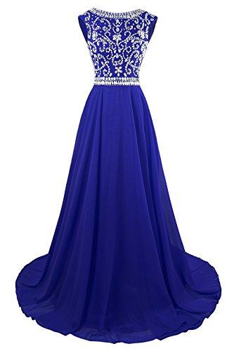 MsJune Long Prom Dresses Cap Sleeves Bridesmaid Wedding Guest Gowns Beaded Dress Royal Blue 2