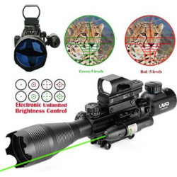 UUQ 4-16×50 Tactical Rifle Scope Red/Green Illuminated Range Finder Reticle W/RED(Green) Laser and Multi Coated Holographic Reflex Dot Sight (12 Month Warranty) (Green Laser W Dot Sight)