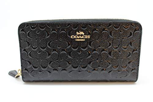 Coach Accordion Zip Wallet in Signature Debossed Patent Leather – F54805 (Black)