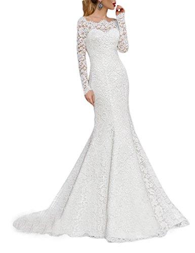 OYISHA 2016 Lace Mermaid Wedding Dresses Long Sleeve Boat Neck Bride Dress WD166 Ivory 4
