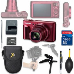 Canon PowerShot SX720 HS Digital Camera(red) with 32GB SD Memory Card + Accessory Bundle