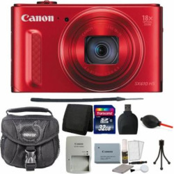 Canon PowerShot SX610 HS 20.2 MP 18X Optical Zoom Wifi  NFC Enabled Digital Camera Red with 32GB Card and Accessories
