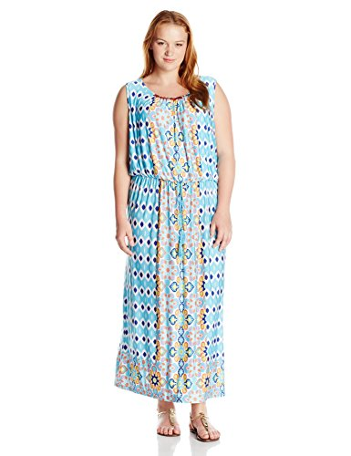 Ruby Rd. Women's Plus-Size Printed Maxi Dress with Embellished Boat-Neck, Aqua Multi, 1X