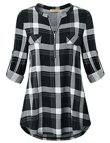 Baikea Checkered Shirt, Women Notch V Neck Roll Up Sleeve Zip Front Blouse Pleated Back Loose Hem Cuff Button Jersey Tops Lovely Stylish Classic Tunic Black Plaid XL