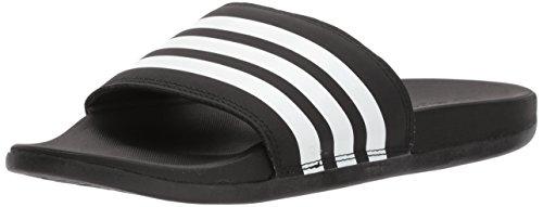 adidas Women's Adilette Cloudfoam+ Slide Sandal, White/Black, 6 M US
