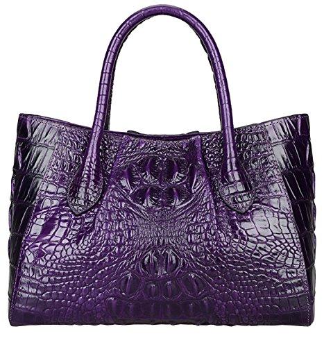 PIJUSHI Women Handbags Crocodile Top Handle Bag Designer Satchel Bags For Women (5002A, Violet)