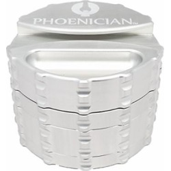 Phoenician Herbal Grinder – Large 4 Piece w/ Papers Holder – Silver with 2 Rolling Paper Depot Doobtubes