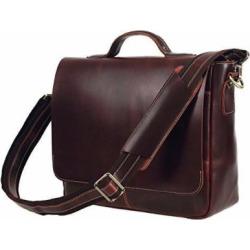 Texbo Genuine Leather Men's Briefcase Messenger Shoulder Bag Fit 14 Inch Laptop