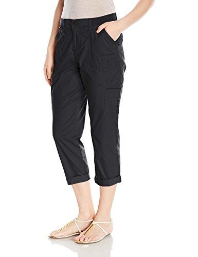 LEE Women's Relaxed Fit Presley Knit Waist Capri Pant, Black, 10