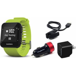 Garmin Forerunner 35 (Lime) GPS Running Watch CHARGING BUNDLE with PlayBetter USB Wall & Vehicle Charging Adapters, USB Charging Cable | 24/7 Activity Tracking & On-Wrist Heart Rate