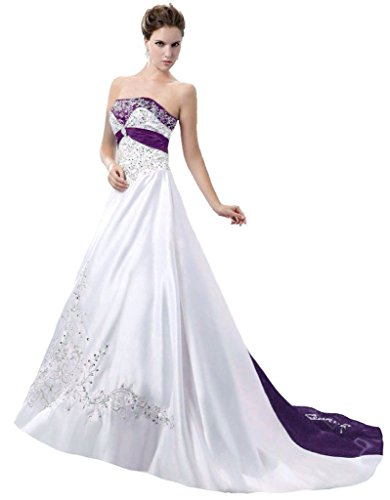 Snowskite Women's Strapless Satin Embroidery Wedding Dress 8 White&Purple