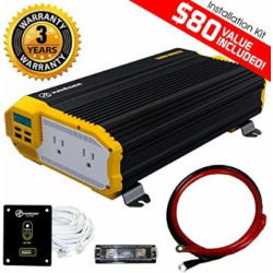 KRIËGER 2000 Watt 12V Power Inverter Dual 110V AC Outlets, Car Inverter Installation Kit. Automotive Back Up Power Supply for Blenders, Vacuums, Power Tools. MET Approved to UL and CSA