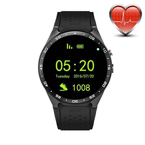 KW88 3G WiFi Smart Watch Cell Phone All-in-One Bluetooth Android 5.1 SIM Card with GPS,Camera,Heart Rate Monitor,Google map (Black/Tarnish)