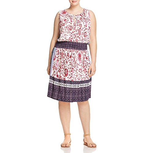 Lucky Brand Women's Plus Size Kerry Knit Dress, Pink/Multi, 2X