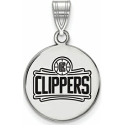 LogoArt Sterling Silver Los Angeles Clippers Medium Enamel Disc Pendant Necklace