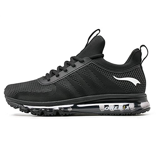 ONEMIX Air Cushion Sports Running Casual Walking Sneakers Shoes for Men and Women Black 10 D(M) US 11.02 inch=EUR44