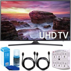 Samsung UN40MU6290 6-Series Flat 39.9″ LED 4K UHD Smart TV w/ Accessory Bundle includes TV, 6ft High Speed HDMI Cable x 2, Universal Screen Cleaner, and SurgePro 6 NT 750 Joule 6-Outlet Surge Adapter