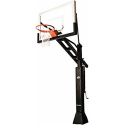 """Ryval C554 Basketball Hoop – 54"""" Clear-View Tempered Glass Backboard, Height Adjustable for Children & Adults, In Ground Basketball Goal, Dual Spring Heavy Duty Flex Rim"""