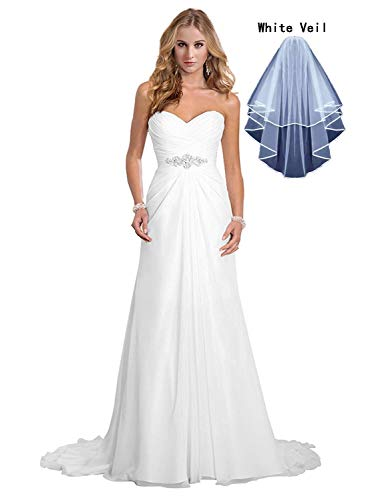 Dreambridal Simple A Line Chiffon Bride Wedding Dresses White,US 4