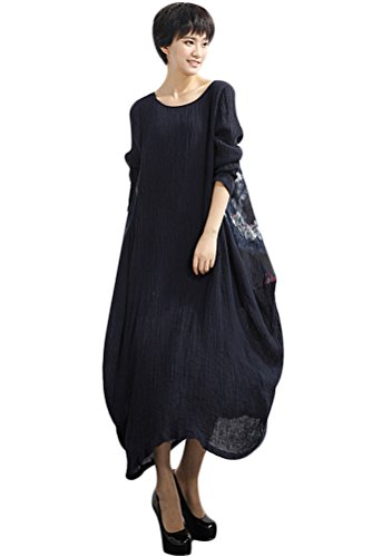 Mordenmiss Women's Spring/Fall Retro Printed Cotton Linen Long Dress (L, Style 18-Navy)