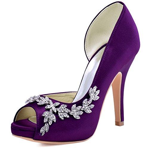 ElegantPark HP1560IAC Women's Peep Toe Platform High Heel Rhinestones Satin Wedding Party Dress Shoes Purple US 10
