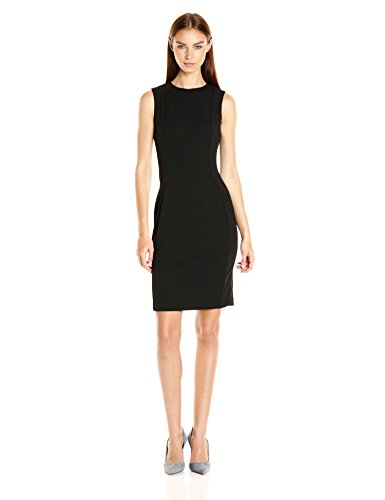 Calvin Klein Women's Scuba Crepe Sleeveless Princess Seam Sheath Dress, Black 16, 14