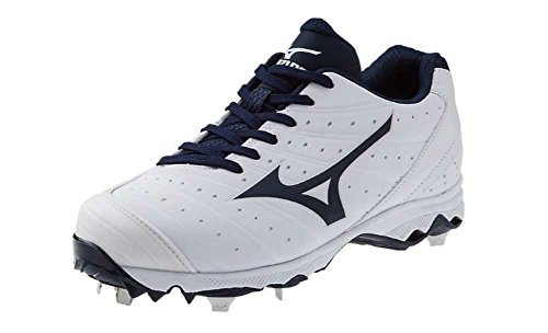 Mizuno Women's 9-Spike Advanced Sweep 2 Fastpitch Cleat, White/Navy, 11.5 M US