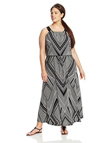 Calvin Klein Women's Plus-Size Maxi Dress with Stud Detail, Black Print Combo, 1X