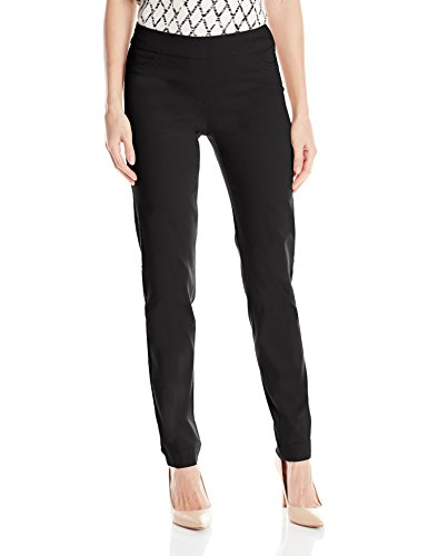 SLIM-SATION Women's Wide Band Pull-on Straight Leg Pant with Tummy Control, Black, 10