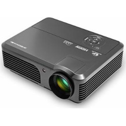 Projector, CAIWEI Video Projector 3600 Lumens, 200″ LCD LED Home Theater Projector Support Full HD 1080P, with HDMI VGA AV USB Built-in Speakers Keystone Remote for Basement Movie, Party, HD Games