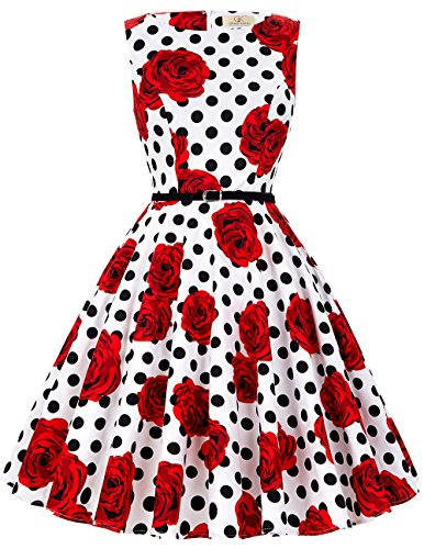 GRACE KARIN Pin up Swing Retro Dress Knee Length Sleeveless Size 4X F-36