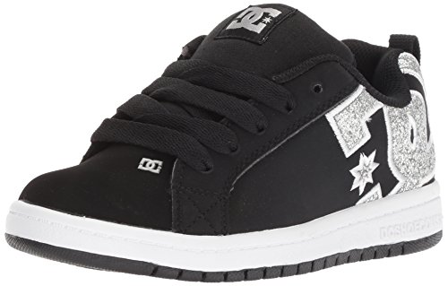 DC Youth Court Graffik Skate Shoes, Black/Silver, 6 M US Big Kid