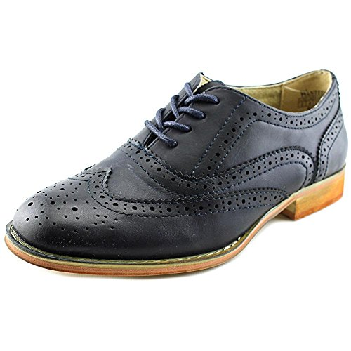 Wanted Shoes Womens Babe Almond Toe Oxfords, Blue, Size 5.5