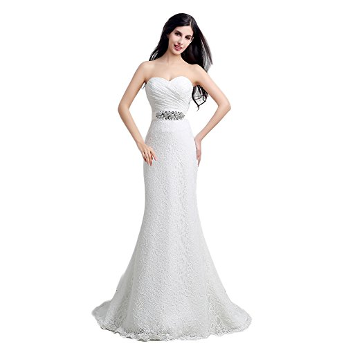 Engerla Women's Mermaid Sweetheart Lace Rhinestone Long Wedding Dress White US14