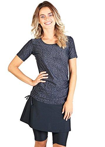 Ella Mae Modest Swimsuit for Women with Short Sleeve Swim Shirt and Swim Skirt with Knee Length Swim Capri Leggings (S-XXXL)
