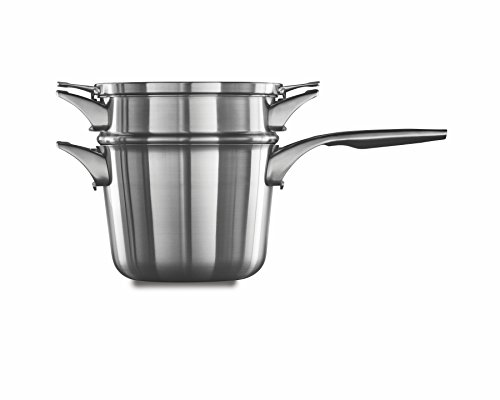 Calphalon Premier Space Saving Stainless Steel 4.5qt Sauce Pan with Double Boiler