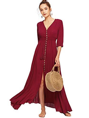 Milumia Women's Button Up Split Floral Print Flowy Party Maxi Dress Large Burgundy