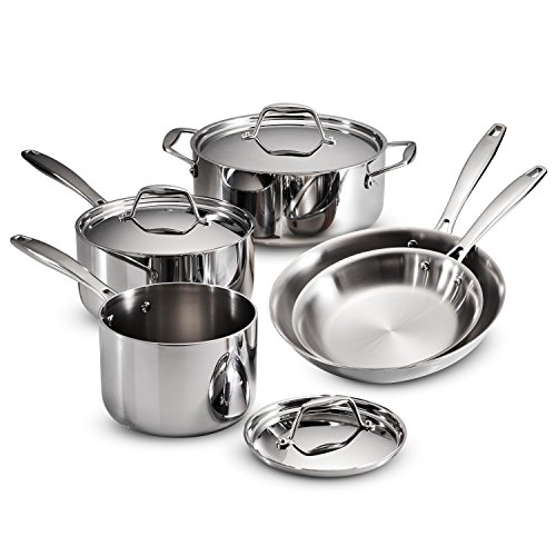 Tramontina 80116/247DS Gourmet 18/10 Stainless Steel Induction-Ready Tri-Ply Clad 8-Piece Cookware Set