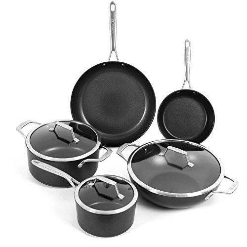 TECHEF – Onyx Collection Nonstick Cookware Set, with New Teflon Platinum Non-Stick Coating (PFOA Free), 8-Piece