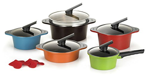 Happycall Hard Anodized Ceramic Nonstick Pot 13-piece Set, Oven Safe, Dishwasher Safe, Steamer, Silicone Pot Holders, Cookware Set, Assorted Colors