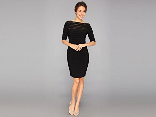 Adrianna Papell Women's 3/4 Sleeve Banded Illusion Dress, Black, 4