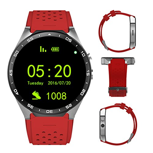 3G Smart Watch, Android 5.1 OS, Quad Core support 2.0MP Camera Bluetooth SIM Card WiFi GPS Heart Rate Monitor (Red+Silver)