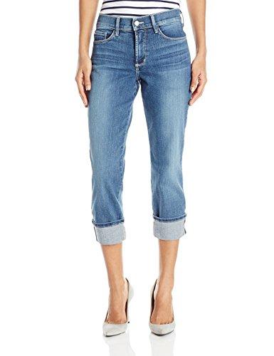 NYDJ Women's Dayla Wide Cuffed Capri Jeans in Stretch Indigo Denim, Heyburn, 12